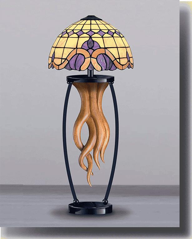 Лампа настольная Тиффани «Тициана», манговое дерево, витражное стекло, для спальни, для гостиной, модерн, классика, эклектика